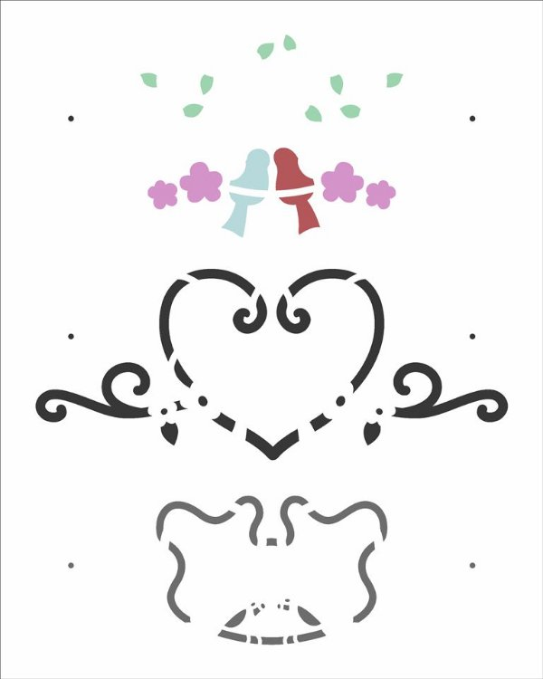 Stencil 20X25 Simples Pássaros Love - Opa 2985