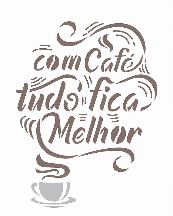 Stencil 20X25 Simples Frases Com Café - Opa 2974
