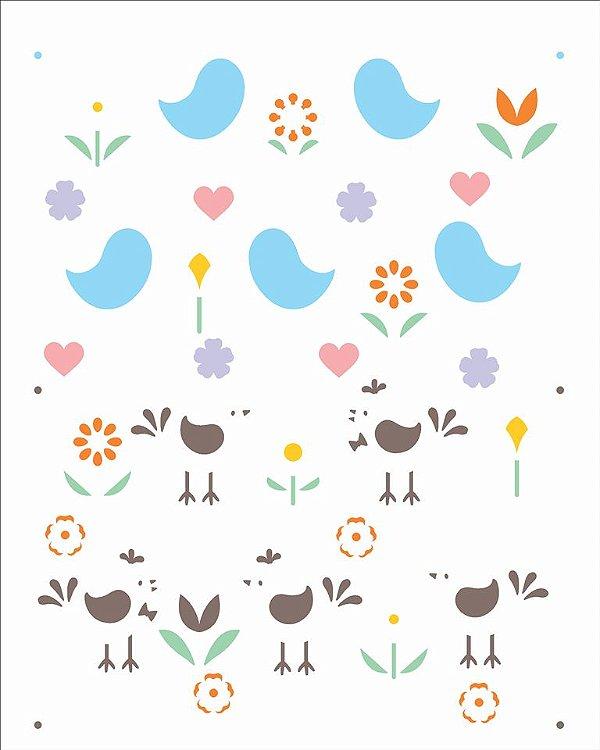 Stencil 20X25 Simples Estamparia Pássaros e Flores Opa 2971
