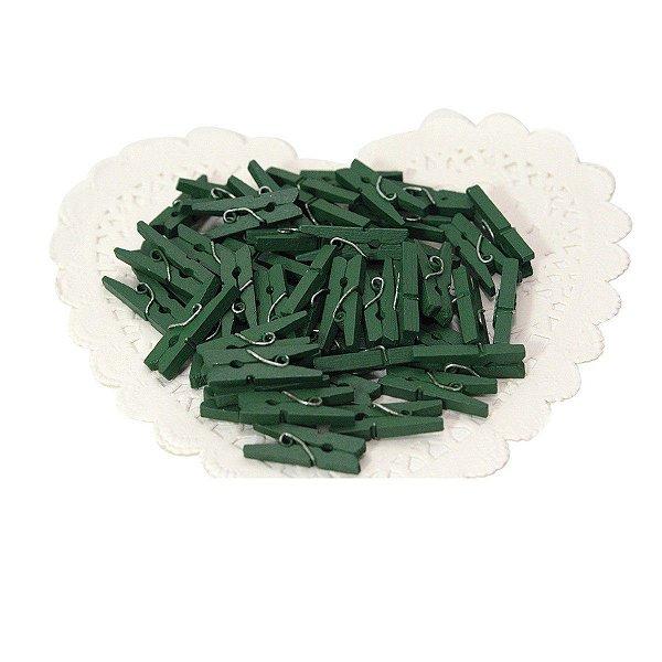 Kit Mini Prendedores Madeira 2,5 cm Verde Escuro Com 20 Un