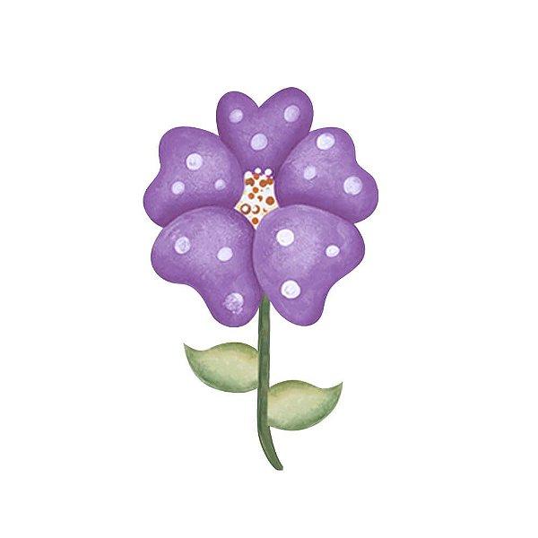 APM4-034 Aplique Litoarte Em Papel E MDF - Flor e Borboleta Lilás
