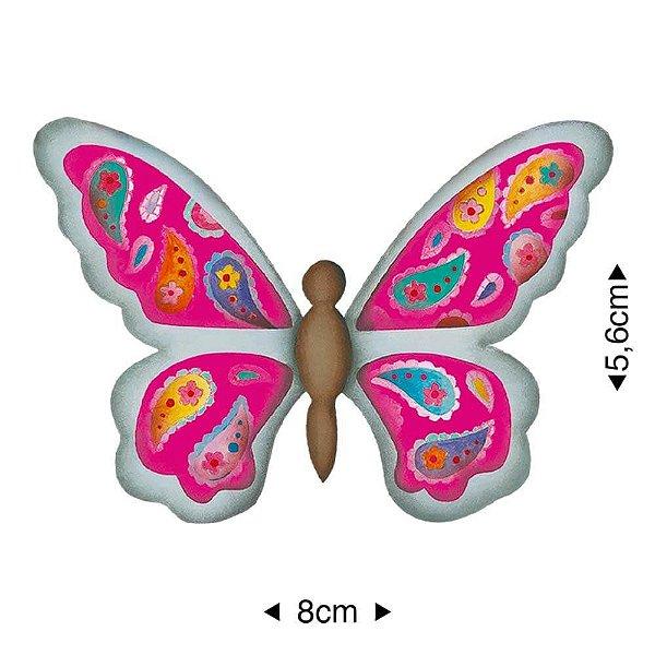 APM8-002 - Aplique Em Papel E MDF - Borboleta Rosa