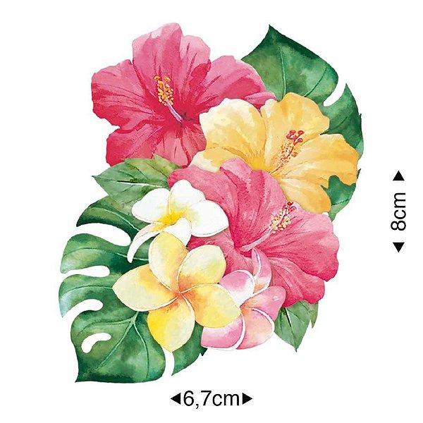 APM8-1089 - Aplique Em Papel E MDF - Flores Tropicais