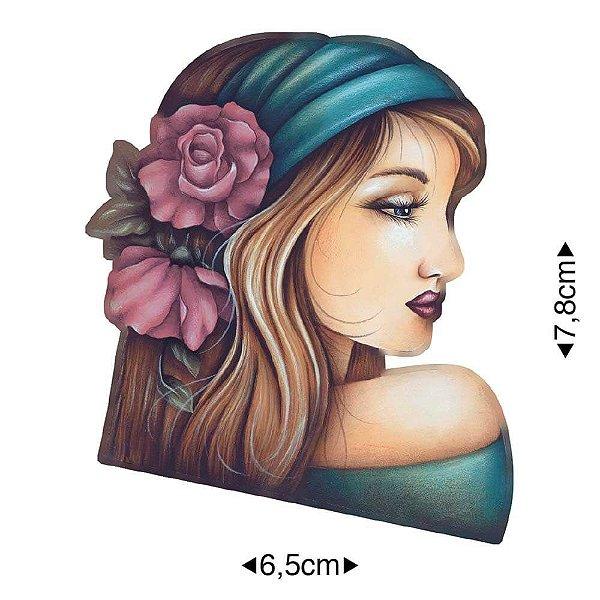 APM8-1142 - Aplique Em Papel E MDF - Mulher Com Rosas No Cabelo