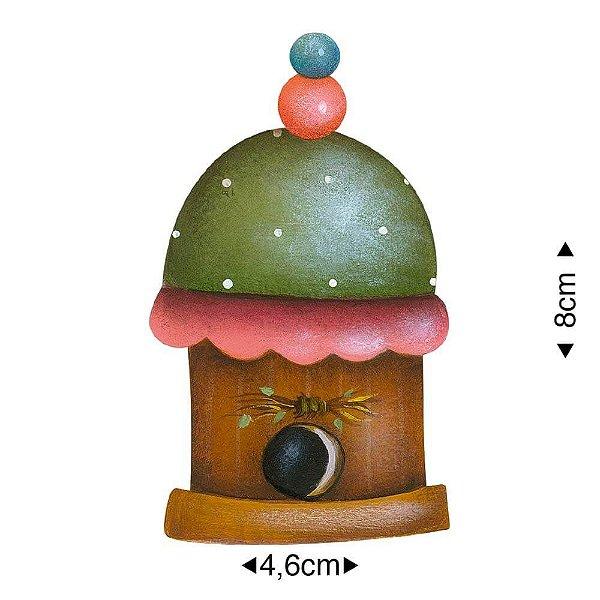 APM8-1189 - Aplique Em Papel E MDF - Casinha de Pássarinho
