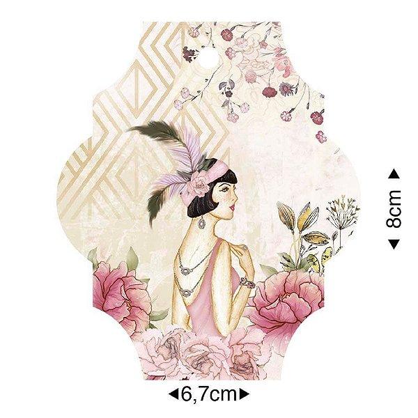 APM8-1243 - Aplique Em Papel E MDF - Dama Flores