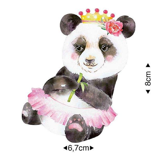 APM8-1267 - Aplique Em Papel E MDF - Panda Coroa Flores