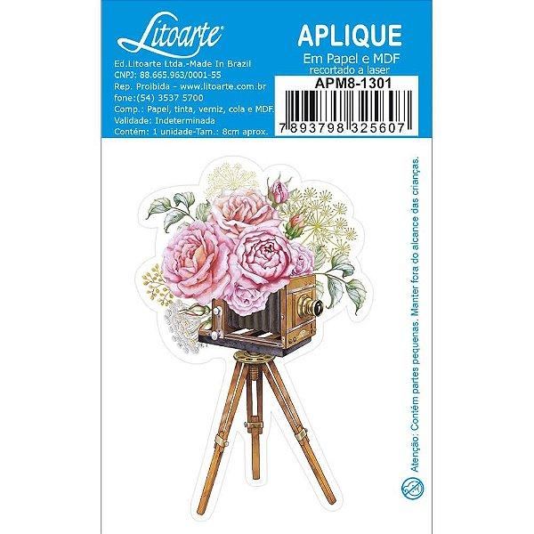 APM8-1301- Aplique Em Papel E MDF - Câmera Fotográfica Antiga Com Flores
