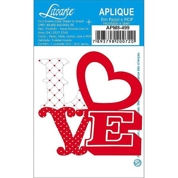 APM8-499 - Aplique Em Papel E MDF - Love