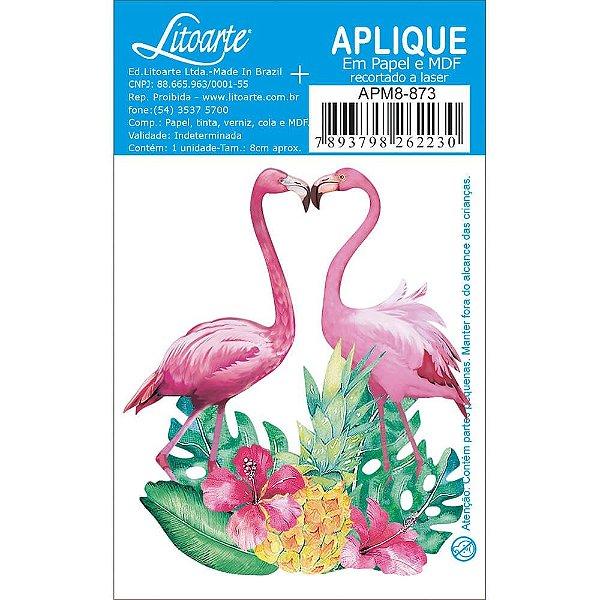 APM8-873 - Aplique Em Papel E MDF - Casal De Flamingo e Flores
