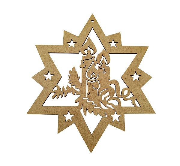 Aplique Em MDF Guirlanda Estrela Com Velas Natal 24 cm