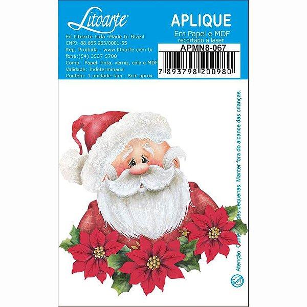 APMN8-067 - Aplique Em Mdf C/ Papel 8cm - Papai Noel e Poinsetias