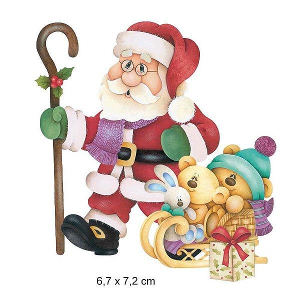 APMN8-086 - Aplique Em Mdf C/ Papel 8cm - Papai Noel com Ursinhos