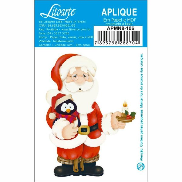 APMN8-106 - Aplique Em Mdf C/ Papel 8cm - Papai Noel Com Pinguim