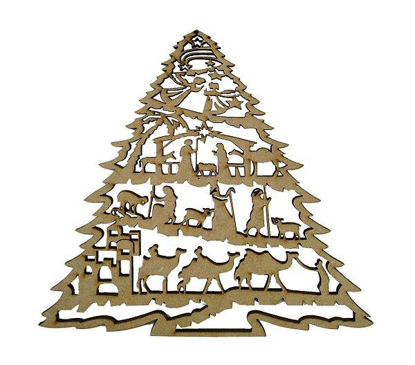 Aplique Em MDF Árvore Presépio Crú Natal 15 cm