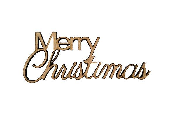 Aplique Em MDF Palavra Merry Christmas Crú Natal 8,5 cm