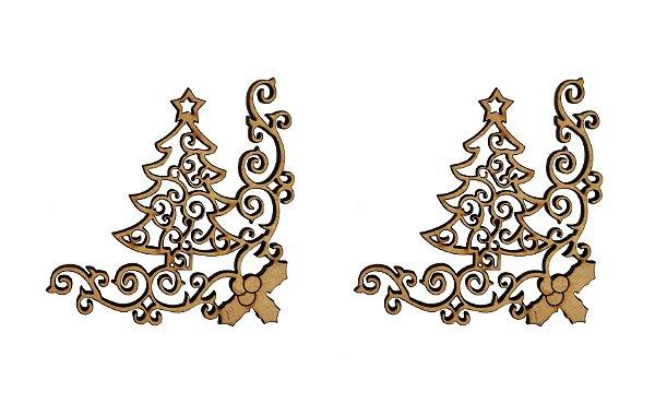 Aplique Em MDF Cantoneira Árvore Arabesco Natal 7 cm 2 Un