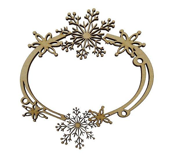 Aplique Em MDF Mandala Floco De Neve Crú Natal 15 cm