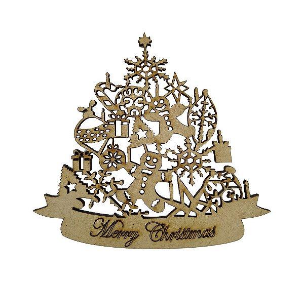 Aplique Em MDF Árvore Merry Christmas Crú Natal 10 cm