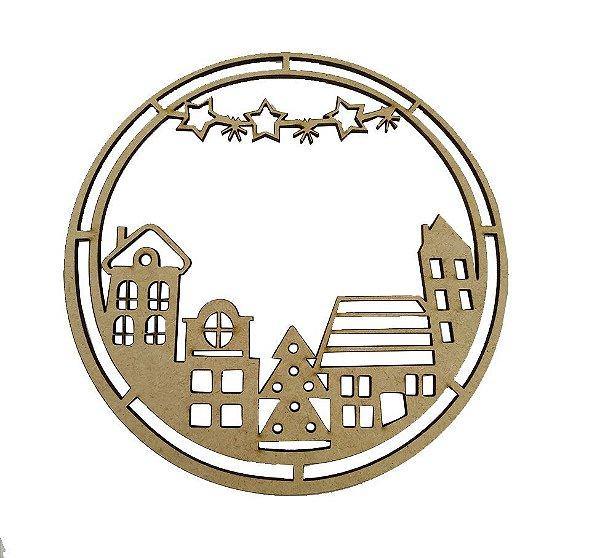 Aplique Em MDF Mandala Casinhas Crú Natal 15 cm