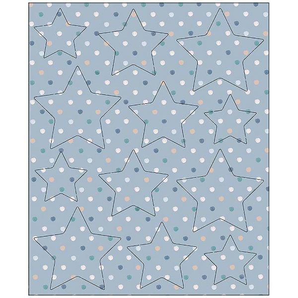 Apliques MDF Pintada Destacáveis Estrela Azul - MRLC-004