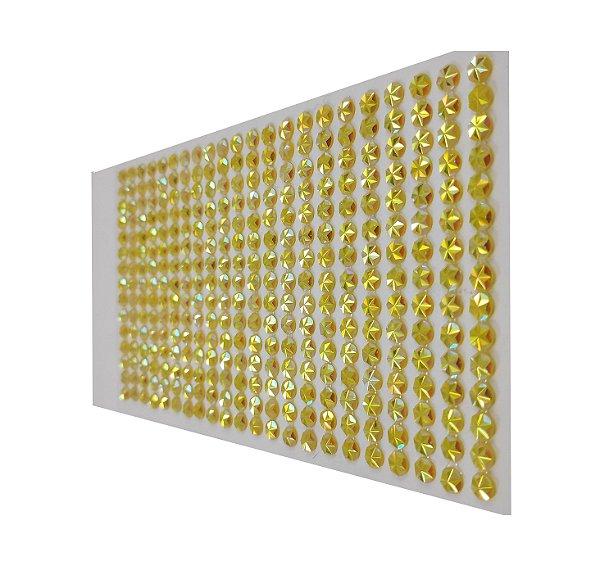 Cartela Cristais Dourada Auto Colantes HD69002 330 Unidades