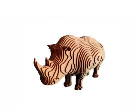 Rinoceronte 3D Laser Em MDF 100% Qualidade Decoração