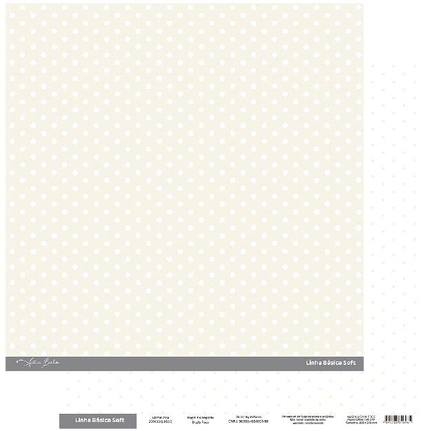 Papel Scrapbook - Scrap By Antonio Linha Básica Soft Marfim Poá 200432