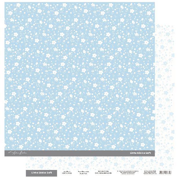 Papel Scrapbook - Scrap By Antonio Linha Básica Soft Azul Floral 200412