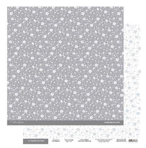 Papel Scrapbook - Scrap By Antonio Linha Básica Soft Cinza Floral 200416