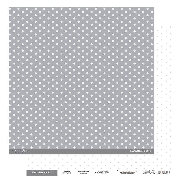Papel Scrapbook - Scrap By Antonio Linha Básica Soft Cinza Poá 200414