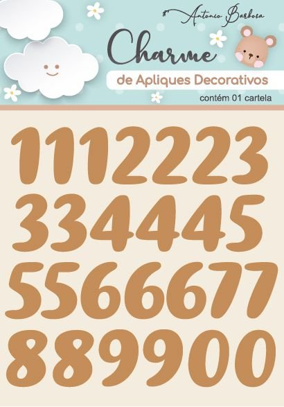 Charme de Apliques Decorativos MDF Baby Números