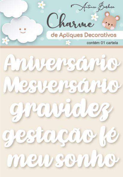 Charme De Apliques Acrílico Decorativos Palavras Baby Branco