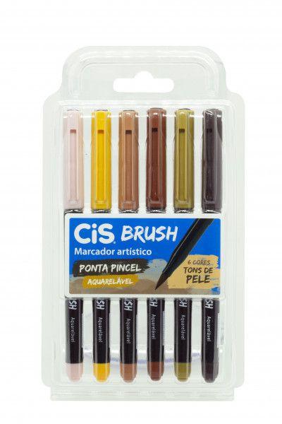 Caneta Pincel Brush Aquarelável Cis Kit 6 Cores Tons de Pele