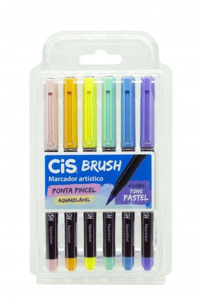 Caneta Pincel Brush Aquarelável Cis Kit 6 Cores Tons Pastel