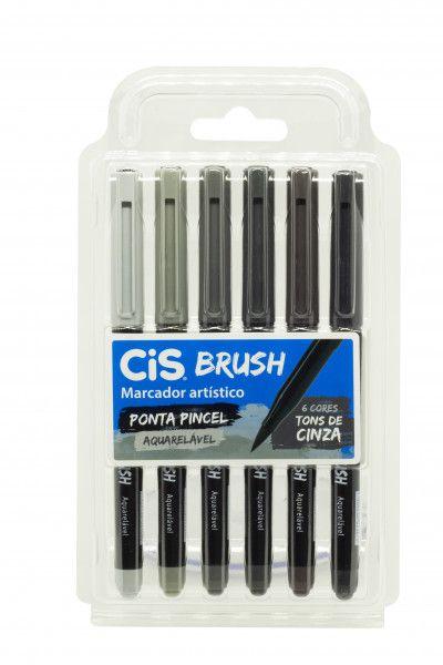 Caneta Pincel Brush Aquarelável Cis Kit 6 Cores Tons Cinza