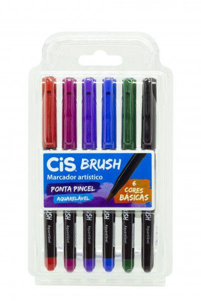 Caneta Pincel Brush Aquarelável Cis Kit Com 6 Cores Básicas