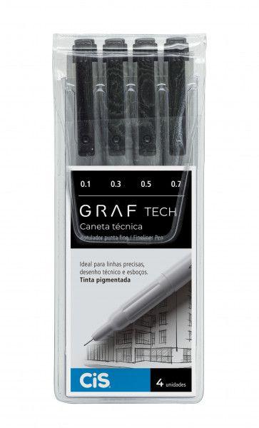 Caneta Graf Tech Cis Kit Com 4 Unidades Fineliner Pigmentada