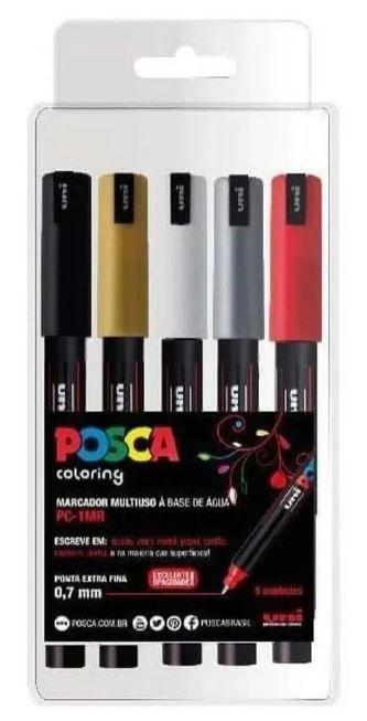 Caneta Posca PC - 1mr 0.7 mm Kit Com 5 Cores Uniball