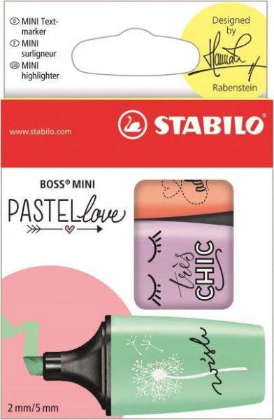Caneta Stabilo Marca Texo Mini Boss Love Pastel Com 3 Unid