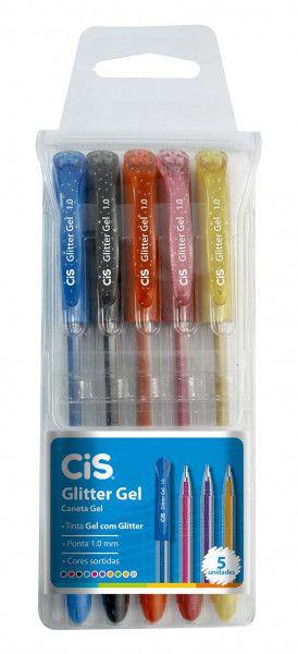 Caneta Tinta Gel Glitter 1.0 mm Kit Com 5 Cores