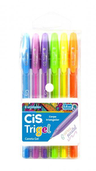 Caneta Gel Trigel Cis Kit 6 Cores Pastel Triangular 1.0 mm