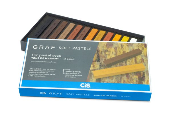 Gis Pastel Seco Graf Soft Pastels Tons Marrom - 12 Cores