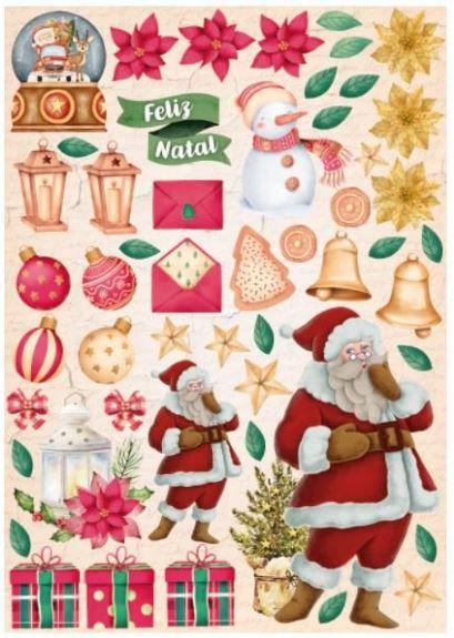 Papel Scrapbook - Scrap By Antonio - Meu Natal Colorido 200558 - Recortes Natalinos