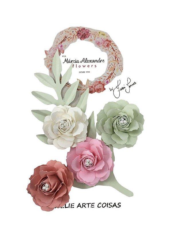Flores de Papel P/Scrapbook Mesclada Fabi Torres