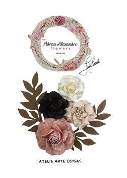 Flores de Papel P/Scrapbook Sorvete Goiaba C/Coco Livia Fior
