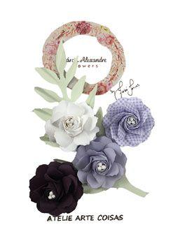 Flores de Papel P/Scrapbook Mousse De Uva Fabi Torres