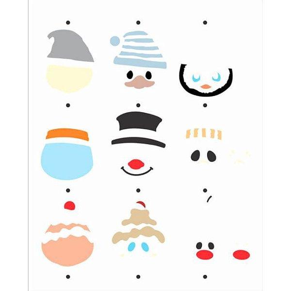 Stencil 20X25 Simples Rostos Natalinos - Opa 3004