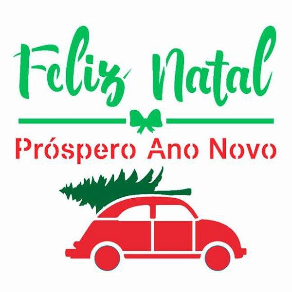 Stencil 14X14 Simples – Frase Feliz Natal Fusca – OPA 2998