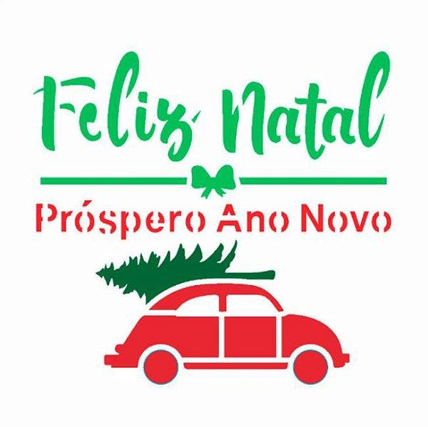 Stencil 10X10 Frase Feliz Natal Fusca - Opa 3015